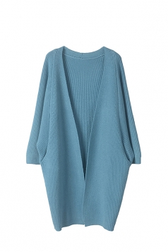 Women Knit Slant Pocket Plain Cardigan Blue