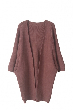 Women Knit Slant Pocket Plain Cardigan Coffee