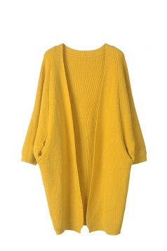 Women Knit Slant Pocket Plain Cardigan Yellow