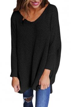 Women Oversized V-Neck Long Sleeve Plain Sweater Black