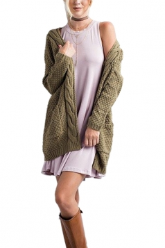 Women Plain Cardigan With Pocket Army Green
