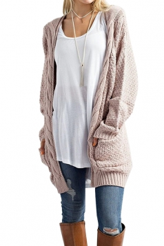 Women Plain Cardigan With Pocket Apricot