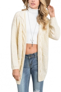 Women Plain Cardigan With Pocket Beige White