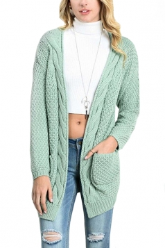 Women Plain Cardigan With Pocket Green