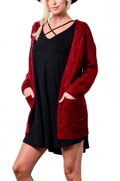 Women Plain Cardigan With Pocket Ruby