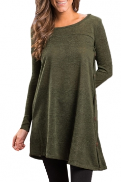Women Long Sleeve Irregular Hem Buttons Sweatshirt Army Green