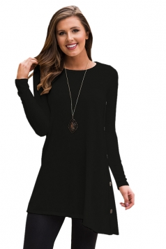 Women Long Sleeve Irregular Hem Buttons Sweatshirt Black