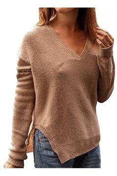 Women Deep V Oversized Knit Side Slit Pullover Sweater Coffee