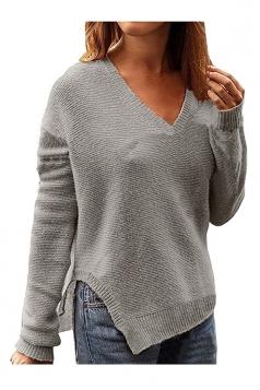 Women Deep V Oversized Knit Side Slit Pullover Sweater Gray