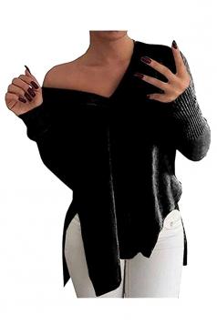 Women V Neck Side Slit Long Sleeve Pullover Sweater Black