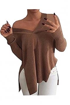 Women V Neck Side Slit Long Sleeve Pullover Sweater Coffee
