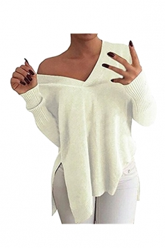 Women V Neck Side Slit Long Sleeve Pullover Sweater White