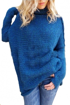 Women Oversized High Collar Knit Sweater Blue