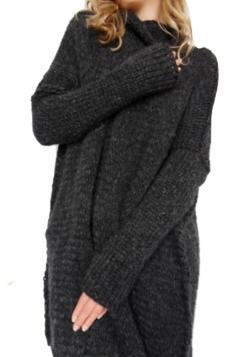 Women Oversized High Collar Knit Sweater Black