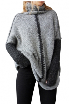 Women Oversized High Collar Knit Sweater Gray