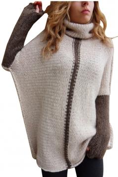 Women Oversized High Collar Knit Sweater Pink
