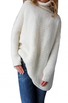 Women Oversized High Collar Knit Sweater White