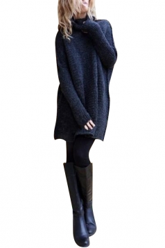 Women Oversized High Collar Knit Sweater Navy Blue