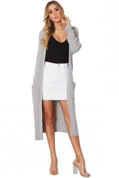 Women Plain Midi Length Cardigans Gray