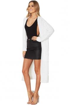 Women Plain Midi Length Cardigans White