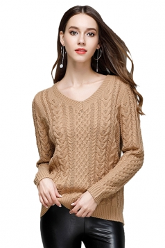 Women Sexy Knit V-Neck Long Sleeve Plain Pullover Sweater Camel