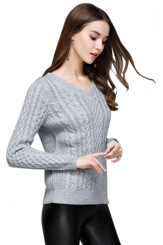 Women Sexy Knit V-Neck Long Sleeve Plain Pullover Sweater Gray