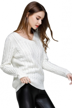 Women Sexy Knit V-Neck Long Sleeve Plain Pullover Sweater White