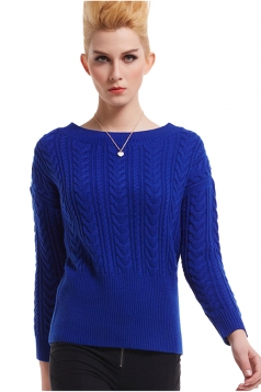Womens Crew Neck Long Sleeve Plain Pullover Irish Knit Sweater Blue