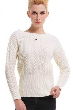 Womens Crew Neck Long Sleeve Plain Pullover Irish Knit Sweater White