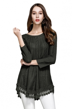 Women Knit Lace Asymmetrical Hem Plain Pullover Sweater Army Green