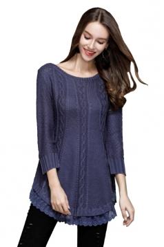 Women Knit Lace Asymmetrical Hem Plain Pullover Sweater Blue