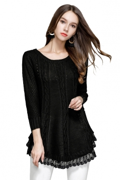 Women Knit Lace Asymmetrical Hem Plain Pullover Sweater Black