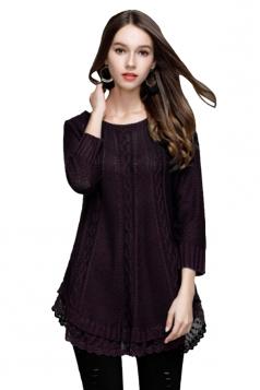 Women Knit Lace Asymmetrical Hem Plain Pullover Sweater Purple