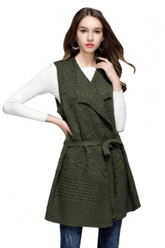Women Knit Sleeveless Lace Up Plain Sweater Vest Army Green
