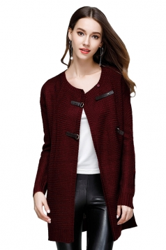 Womens Elegant Knit Long Sleeve Cardigan Sweater Coat Navy Ruby