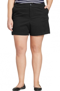 Womens Plus Size Wide Legs High Waist Pocket Plain Shorts Black