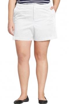 Womens Plus Size Wide Legs High Waist Pocket Plain Shorts White