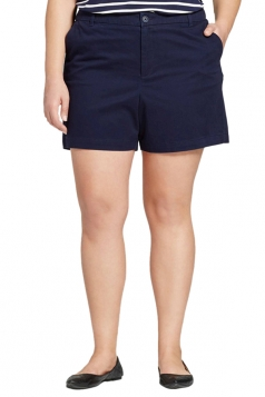 Womens Plus Size Wide Legs High Waist Pocket Plain Shorts Navy Blue