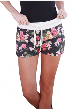 Womens Sexy Drawstring Floral Printed Running Shorts Blue