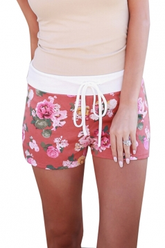 Womens Sexy Drawstring Floral Printed Running Shorts Red