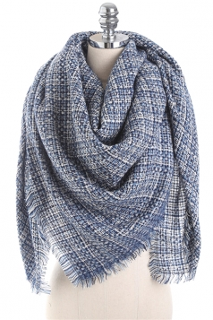Fringe Tartan Plaid Scarf Navy Blue