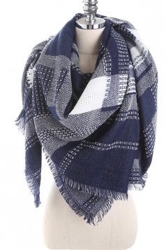Color Block Tartan Plaid Scarf With Fringe Navy Blue