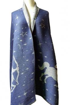 Women Deer Jacquard Printed Both Side Poncho Blue