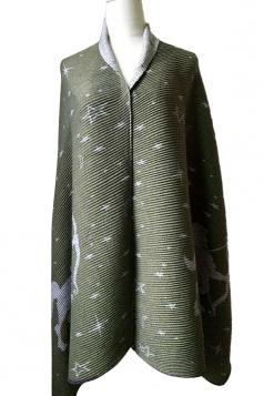 Women Deer Jacquard Printed Both Side Poncho Green
