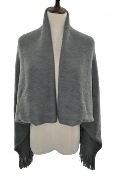 Women Oversized Plain Fringe Scarf Cloak Gray