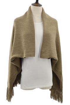 Women Oversized Plain Fringe Scarf Cloak Khaki