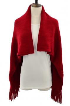 Women Oversized Plain Fringe Scarf Cloak Ruby