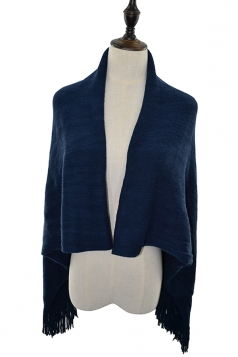 Women Oversized Plain Fringe Scarf Cloak Navy Blue