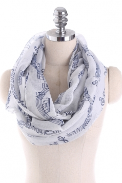 Musical Note Printed Soft And Warm Scarf Blue