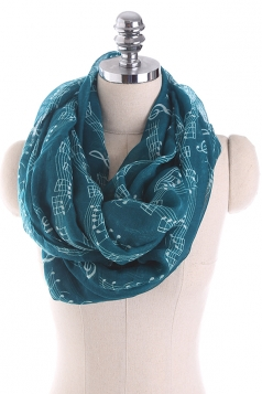 Musical Note Printed Soft And Warm Scarf Dark Green